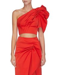 C/meo Collective On The Level' Gathered Cropped One-shoulder Top