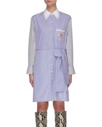 Chloé Striped Side Knot Shirt Dress - Blue