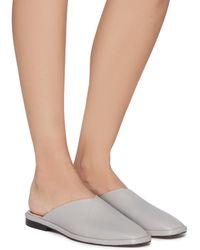 Clergerie 'olga' Almond Toe Slip-on Leather Mules Women Shoes Flats Slip-ons 'olga' Almond Toe Slip-on Leather Mules - Grey