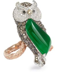 LC COLLECTION - Diamond Jade 18k Gold Owl Ring - Lyst