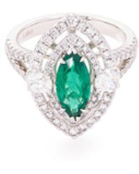 LC COLLECTION   Diamond Emerald Platinum And Silver Marquise Cutout Ring   Lyst