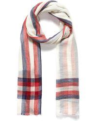 Janavi 'stripe' Tartan Plaid Border Merino Wool Scarf