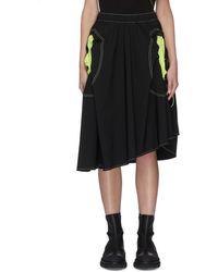 Angel Chen Neon Cut-out Pockets Asymmetric Skirt - Black