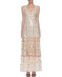 Needle & Thread Sequin Embellished Sleeveless Gown - Metallic