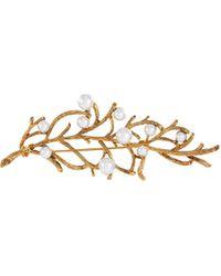 Kenneth Jay Lane Pearl Embellished Branch Pin - Metallic
