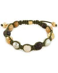 Shamballa Jewels - 'shamballa' Diamond Sapphire Pearl 18k Yellow Gold Beaded Cord Bracelet - Lyst