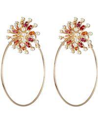 Anton Heunis - Swarovski Pearl Glass Crystal Flower Hoop Earrings - Lyst