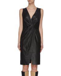 Yves Salomon Sleeveless Lambskin Leather Twist Dress - Black