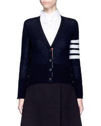 Thom Browne Stripe Sleeve Cashmere V-neck Cardigan - Black