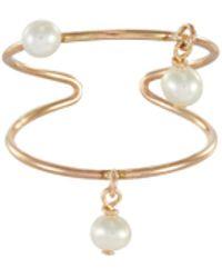 OLIVIA YAO 'pollio' Freshwater Pearl Charm 14k Gold Plated Single Ear Cuff - Metallic