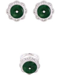 LC COLLECTION - Diamond Jade 18k White Gold Floral Ring And Earrings Set - Lyst