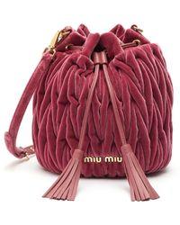 Miu Miu Matelassé Velvet Mini Bucket Bag