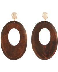 Kenneth Jay Lane - Wood Cutout Oval Drop Clip Earrings - Lyst