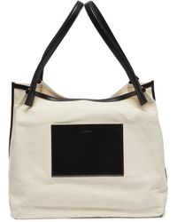 Jil Sander 'origami' Leather Panel Canvas Tote - White