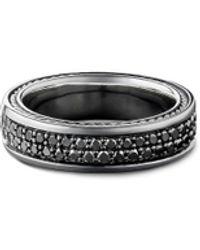 David Yurman Streamline Two Row Pavé Diamond Band Ring - Black