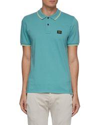 Denham 'regency' Logo Patch Contrast Stripe Edge Cotton Polo Shirt - Blue