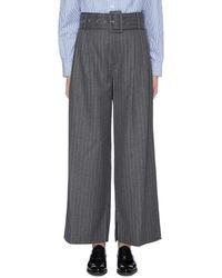 The Keiji Belted Pinstripe Wide Leg Pants - Gray