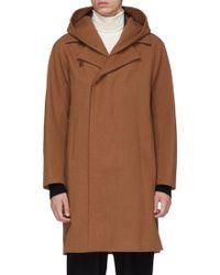 Attachment Detachable Hood Wool-cashmere Melton Coat - Brown