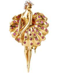 Palais Royal Ruby 18k Gold Ballerina Brooch - Metallic