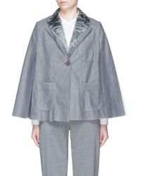 Thom Browne Fur Collar Pleated Tulle Cape - Gray