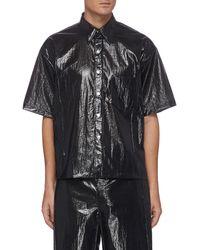 Karmuel Young 'cuboid' Nylon Short Sleeve Shirt Men Clothing Shirts Short Sleeves 'cuboid' Nylon Short Sleeve Shirt - Black
