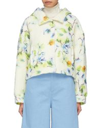 Ms Min - Hooded Floral Print Alpaca-silk Oversized Jacket - Lyst