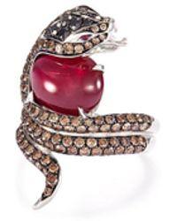 Stephen Webster - 'burma' Diamond Ruby 18k White Gold Snake Ring - Lyst