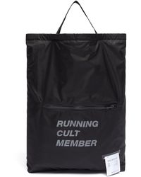 Satisfy 'run In Peace' Slogan Print Drawstring Backpack - Black