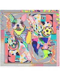 Pashma | Dog Collage Print Silk Satin Scarf | Lyst