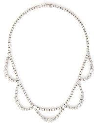 CZ by Kenneth Jay Lane Graduated Drape Zirconia Necklace - Metallic