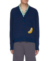 Acne Studios Graphic-embroidered Stretch-knit Cardigan - Blue