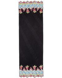 Valentino | Floral Lace Trim Plissé Pleated Silk Scarf | Lyst