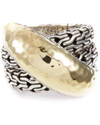 John Hardy 'classic Chain' Silver Yellow Gold Crossover Ring - Metallic