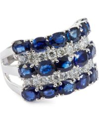 LC COLLECTION Diamond Sapphire 18k White Gold Ring - Blue