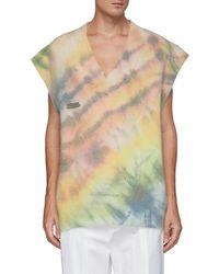Angel Chen Oversized Tie Dye Print Wool Blend V Neck Vest - Multicolour