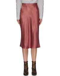 Vince Satin Midi Slip Skirt - Red