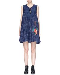Péro - Beaded Floral Embroidered Cotton-silk Babydoll Dress - Lyst