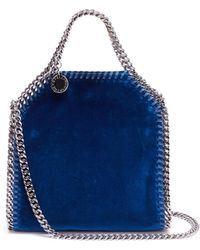 4078c77a48be Stella Mccartney Falabella Metallic Crackle Tiny Tote Bag in Blue - Lyst