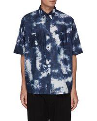 FDMTL Tie Dye Short Sleeve Oversized Cotton Shirt - Blue