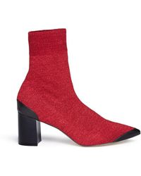Pedder Red - 'jacob' Glitter Lurex Knit Ankle Sock Boots - Lyst