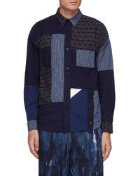 FDMTL Multi Patterned Boro Patchwork Cotton Shirt Men Clothing Shirts Multi Patterned Boro Patchwork Cotton Shirt - Blue