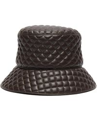 Eric Javits 'quilty' Leather Bucket Hat - Brown
