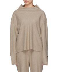 Ms Min - Cutout Cuff Stand Collar Wool Top - Lyst