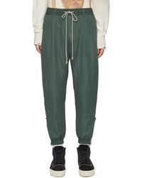 Song For The Mute Drawstring Waist Elastic Trim Trousers - Green