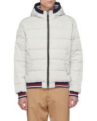 Ecoalf 'trondheim' Hooded Stripe Border Primaloft® Down Puffer Jacket - White