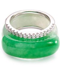 LC COLLECTION Diamond Jade 18k White Gold Stackable Ring - Multicolour