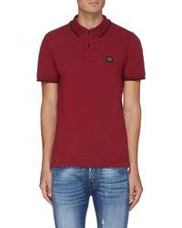 Denham 'regency' Logo Patch Polo Shirt - Red