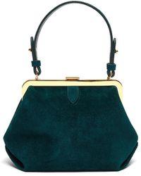 Khaite 'agnes' Metal Clasp Top Handle Small Suede Bag - Green