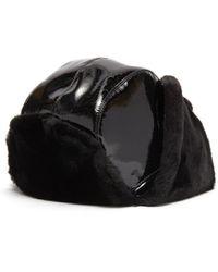Eric Javits 'patent Trooper' Mouton Faux Fur Tie Pompom Hat - Black