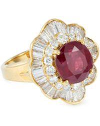 LC COLLECTION Diamond Ruby 18k Yellow Gold Ring - Metallic